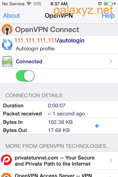 Ứng dụng OpenVPN iOS được kết nối với VPN
