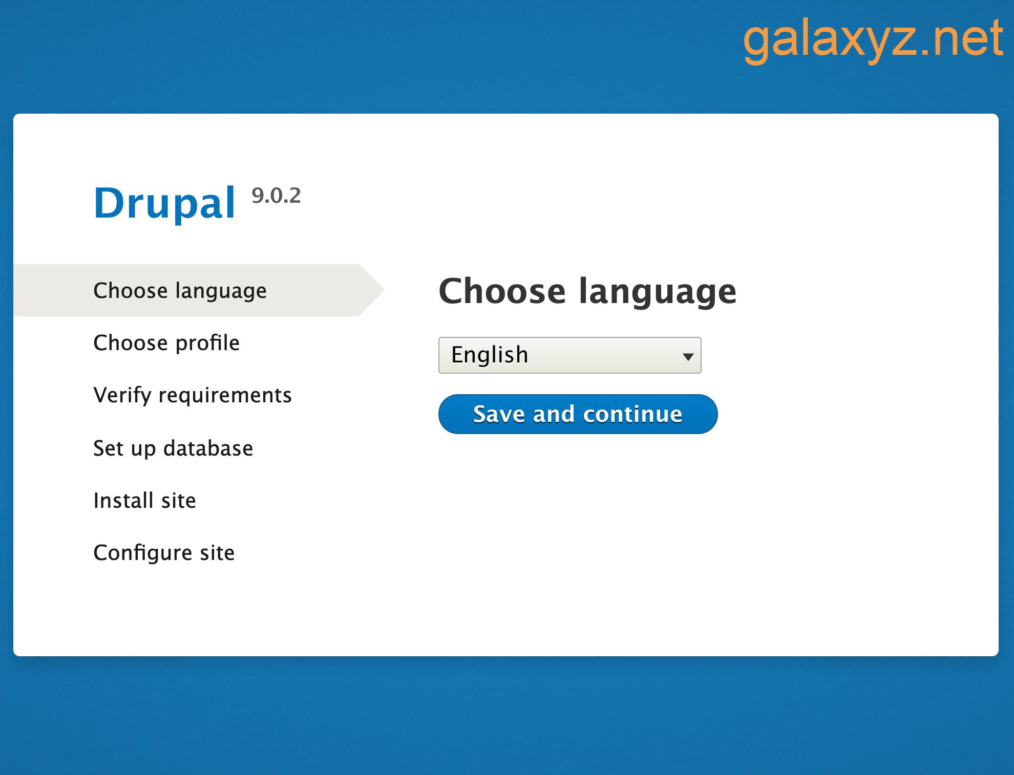 Trình cài đặt Drupal 9 từ trình duyệt