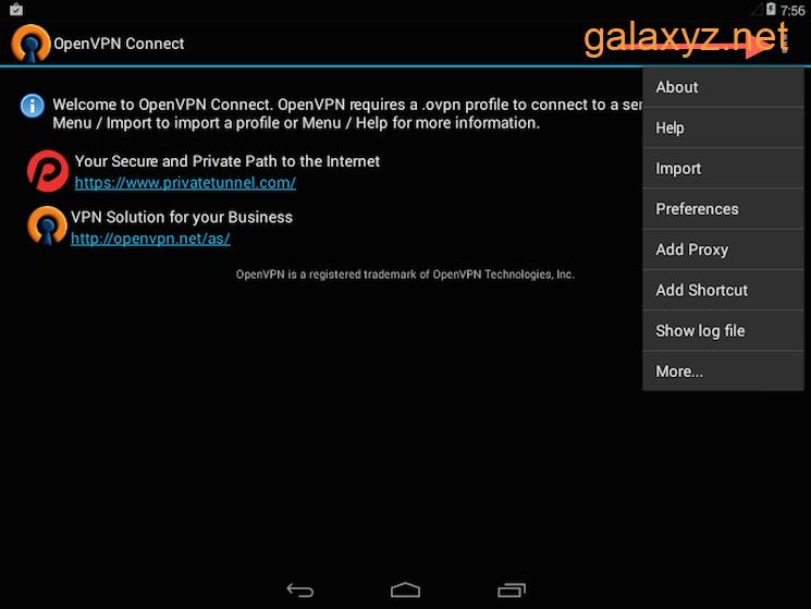 Lựa chọn menu nhập cấu hình ứng dụng OpenVPN Android