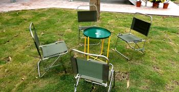 Bàn ghế dã ngoại - uống trà 1 bàn 4 ghế xếp vải dù