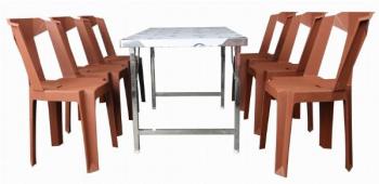 Bộ bàn ghế ăn innox ghế nhựa 6 người